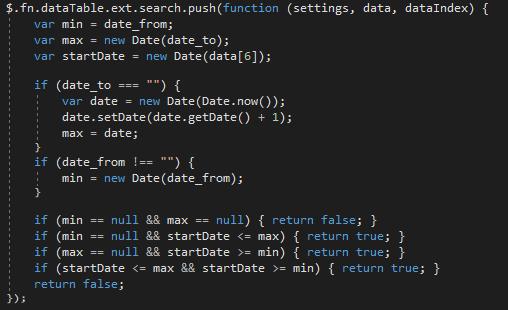 Adding Date Range filter plugin in specific Datatable — DataTables