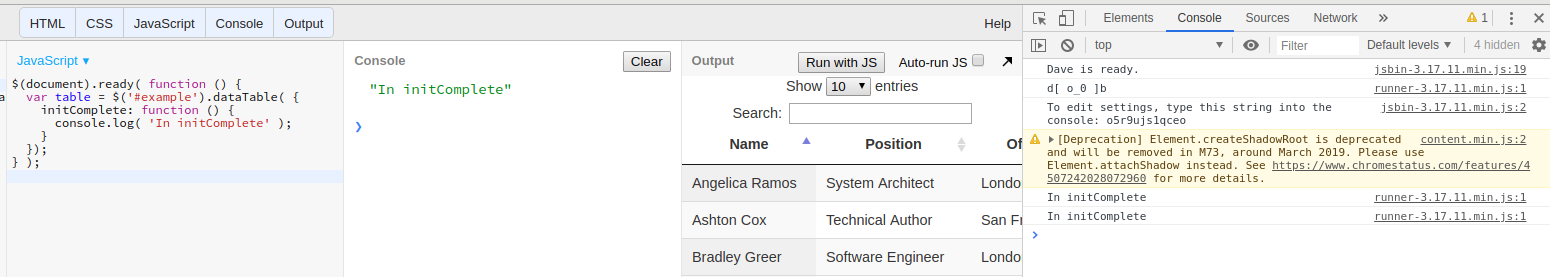 initComplete function not working in  dataTable — DataTables